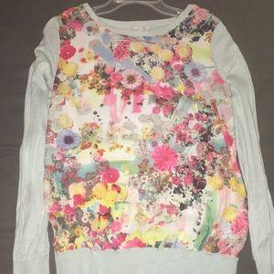 Medium Floral Mint Long Sleeved Shirt